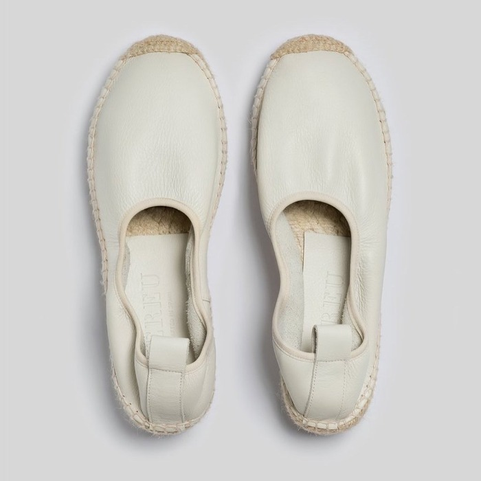 Hereu 'CAPRALA' Elasticated High Cut Espadrille Wedge Off White