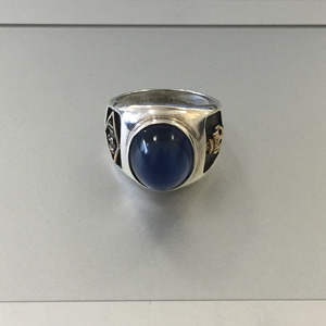 USN Blue Stone Sterling 925 Silver Gold Fill Ring