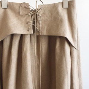 Haversack High Density Linen Dungaree Skirt Beige (Women)