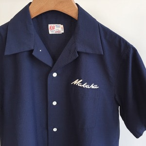 M.Nii Hawaii Makaha Seersucker Shirt Navy