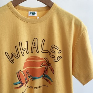 Journeyman Whale's Surfer Team Sunset Beach T-Shirts Sunlight Yellow (Standard Fit)