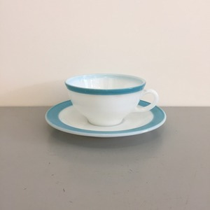 Vintage Pyrex Aqua Blue Band Border Cup and Saucer Rare