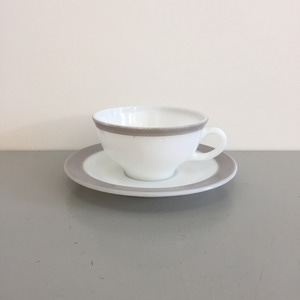 Vintage Pyrex Dove Gray Band Border Cup and Saucer Rare