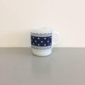 Vintage Fire-King Polka Dot Coffee Mugs Anchor Hocking Blue
