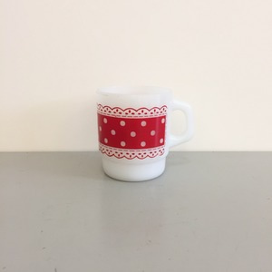 Vintage Fire-King Polka Dot Coffee Mugs Anchor Hocking Red
