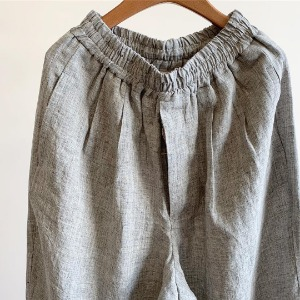 Linen Top Poplin Wide Easy Pants Grey (Women)