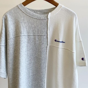 Champion Washed Terry Football Sweatshirt / H.Grey X Off White (Women)