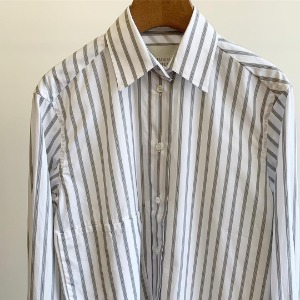 Studio Nicholson Frenkel Dropped Pocket Collar Shirt Khaki Stripe (Women)
