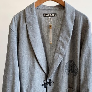 Haversack Peacock Printed Robe Jacket Grey
