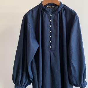 Haversack Linen Poplin Dress Navy (Women)