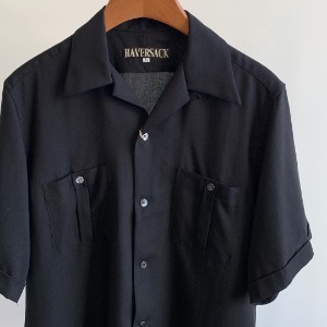 Haversack Lyocell Open Collar Shirts Black