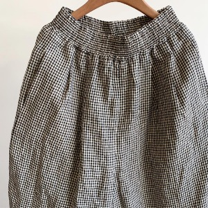 Haversack Gingham Check Linen Wide Easy Shorts Black (Women)