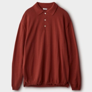 Phigvel Knit Polo LS Shirt Brick Red
