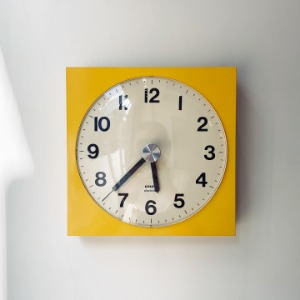 1976 KRUPS Wall Clock Germany Pop Art Yellow