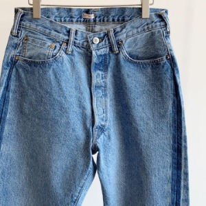 Kaptain Sunshine Baggy Cut Straight Denim Pants (Washed&remaked Side-seam)