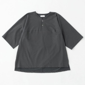 Phlannel Fresca Inlay Stich Dolman Henley Tee Deep Grey