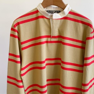 Haversack Border Band Collar Lager Shirts Beige x Red