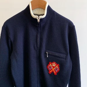 Haversack 14 Gauge Wool Smooth Track Jacket Navy
