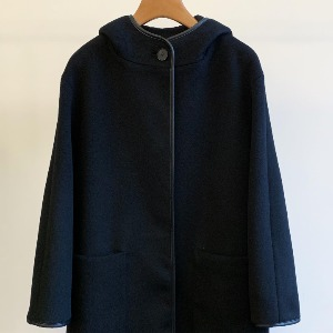 Amomento Wool Hooded Coat Black (Women)