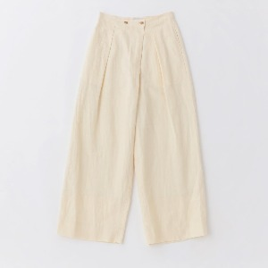 Phlannel Linen Cotton Wool Twill Wide Trousers Cream (Women)
