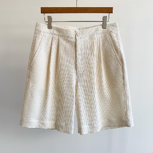Le 17 Septembre Homme / 917 Ribbed Wide Basic Shorts Ivory