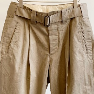 Haversack Belted Cotton Linen Twill Trousers Beige