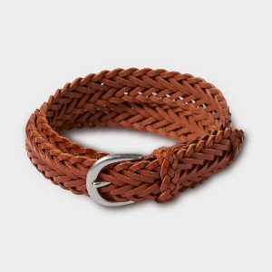 Phigvel Leather Mesh Belt Camel