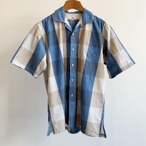 Kaptain Sunshine Open Collar S/S Shirt Blue Big Plaid