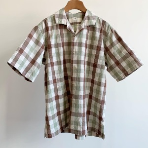 Kaptain Sunshine Open Collar S/S Shirt Brown Green Plaid