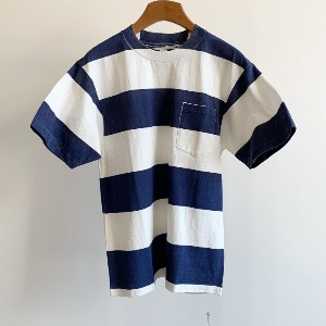 Kaptain Sunshine Wide Border Printed Tee White X Navy Print