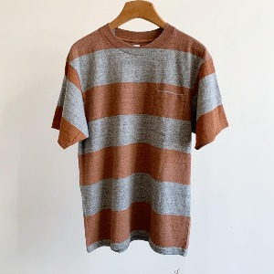 Kaptain Sunshine Wide Border Printed Tee Feather Grey X Rust Print