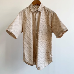 Kaptain Sunshine Regular Collar S/S Shirt Beige Alternate Stripe