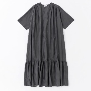 Phlannel Alternate Stripe Summer Airy Dress Deep Black (Women)