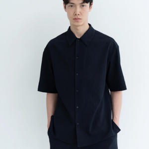 Le 17 Septembre Homme / 917 Open Collar Shirt Navy Seersucker