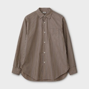 Phigvel Regular Collar Dress Shirt Beige x Navy Stripe