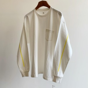 Kaptain Sunshine West Coast Long Sleeved Tee White X Yellow Line