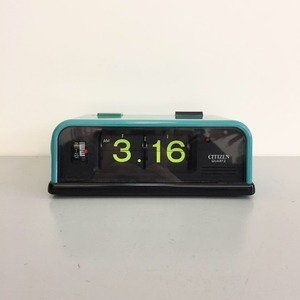 1970's RARE Turquoise Citizen Battery Flip Clock with Alarm and Light