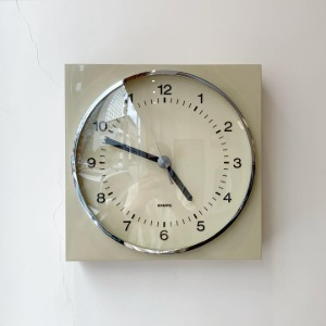 1969 KRUPS Wall Clock Germany Champagne