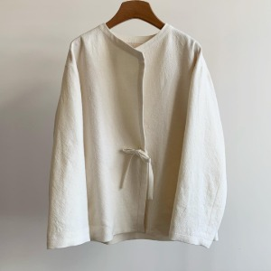 Phlannel Arles Wool Linen Collarless Easy Jacket White (Women)
