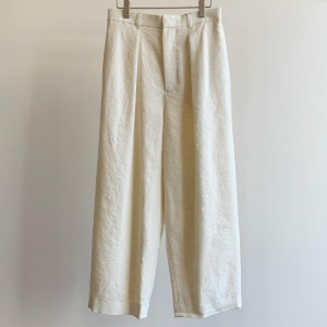 Phlannel Arles Wool Linen Wide Cropped Trousers White (Women)
