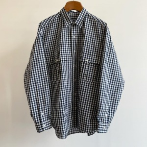 Porter Classic Roll Up Gingham Check Shirt Navy