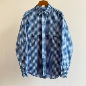 Porter Classic Roll Up Gingham Check Shirt Blue