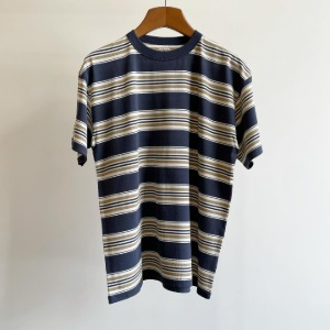 Phigvel Border Short Sleeve Top Navy x Beige