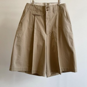 Haversack High Count Twill Wide Chino Shorts Beige