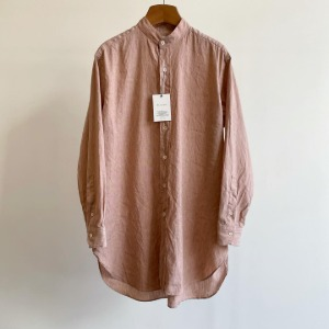 Phlannel American Sea Island Cotton Linen Band Collar Shirt Pink Brown (Womens)